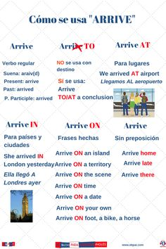 Arrive in- Arrive at- Arrive on English Tips, English Fun, English Study, English Lessons, Learn English, English Phrases, English Idioms, English Vocabulary, English Grammar