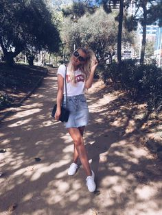 Superga, Denim Skirt, Prada, Lens, Mini Skirts, Chanel, T Shirt, Inspiration, Outfits