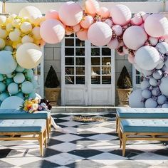 A pastel gradient balloon wedding arch in blue, yellow, peachy, pink and lilac plus blooms in between / Isis Wedding Balloon Decorations, Engagement Party Decorations, Wedding Balloons, Pastel Balloons, Colourful Balloons, Balloon Arch, Balloon Garland, Ballon Backdrop, Pastel Gradient