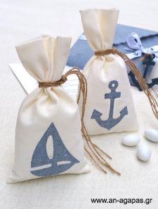 Μπομπονιέρα βάπτισης πουγκί τζην ναυτικό Goodie Bags, Christening, Goodies, Sewing, Decor, Ideas, Sweet Like Candy, Dressmaking, Decoration