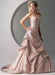 Pink With Sash Strapless Pleated Cheap Colored Wedding Dresses