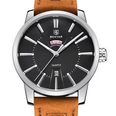 >> Click to Buy << BENYAR Leather Strap Double Calendar Fashion Quartz Watch Luxury Brand Men's Watch 30M Waterproof Casual Watch Relogio Masculino #Affiliate