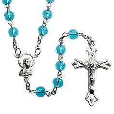 Italian Light Blue Glass Bead Rosary Blessed by His Holiness Pope Francis * Be sure to check out this awesome product.