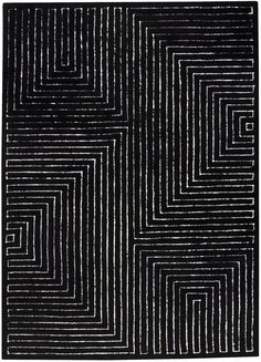 Hokku Designs Maze Black/White Rug Rug Size: x Black White Rug, Black And White Design, Black Rugs, White Rugs, Black Cream, Black Silver, Modern Area Rugs, Contemporary Area Rugs, Contemporary Style