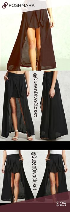 Hi lo high low woven waist tie maxi skirt L Be gone with the wind fabulous in this unique one of a kind maxi skirt. Features a mini skirt with a maxi skirt overlay, wide waist band with tie belt, higher waisted, side zip closure. Size L will fit up to 9/10. 🚫Firm price🚫 Skirts High Low
