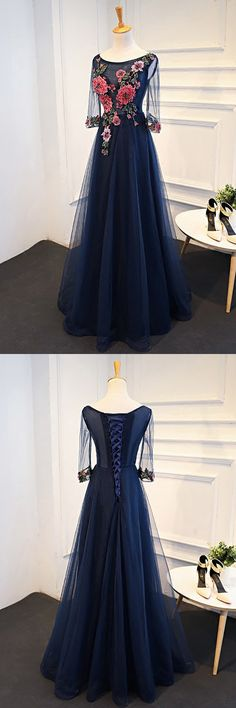 Only $99, Uniuqe Navy Blue Long Tulle Prom Dress 3/4 Sleeves With Flowers #MQD17048 at #SheProm. SheProm is an online store with thousands of dresses, range from Prom,Blue,Navy,A Line Dresses,Long Dresses,Customizable Dresses and so on. Not only selling formal dresses, more and more trendy dress styles will be updated daily to our store. With low price and high quality guaranteed, you will definitely like shopping from us. Shop now!