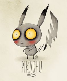 "'Pikachu #025' from ""The Tim Burton x PKMN Project"" by Filipino artist and illustrator Vaughn Pinpin (aka Hat Boy). Post: Pokemon If They Were Created By Tim Burton. via buzzfeed"