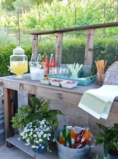 Use a potting bench as a beverage bar ! Plus more summer entertaining ideas inspired by @worldmarket