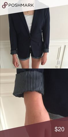 H&M Navy Blazer A chic navy blue blazer with pinstripe cuffs. Jackets & Coats Blazers