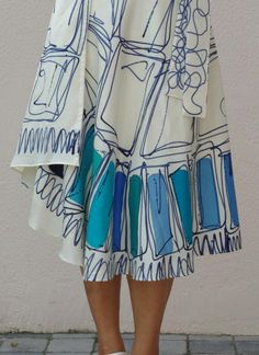100% natural Silk hand painted skirt by textile designer
