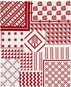 Red-and-White Tribute quilt by Thelma Childers, quilted by Connie Lancaster.  Thelma planned her 4,054-piece, 67½x83″ quilt so it appears that 10 mini red-and-white quilts are overlapping.