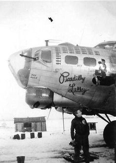 "B-17G "" Picadilly Lilley "", #43-38044 of the 837th Squadron T/Sgt David Dahlberg, Flight Engineer in photo. Note slightly different nose art when compared to the photo on page 233 of Ivo's book. The aircraft was lost 6-Feb-45 (photo taken by Elzylee Gibson"