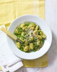 Just a few shortcut ingredients are needed to make this quick pesto gnocchi with peas and pine nuts.