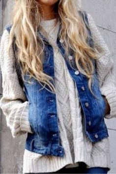 Nap Yarn Jumper| would never think to put a denim vest over a chunky sweater!