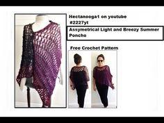 Asymmetrical Light and Breezy Crochet Summer Poncho, #2227yt, FREE crochet pattern, video #1595 - YouTube