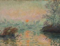 Krajobraz o zachodzie słońca - Tadeusz Makowski