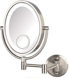 Charlton Home Choquette LED Lighted Direct Wire Makeup/Shaving Mirror Wire Lights, Mirror Table, Lighted Wall Mirror, Wall Mounted Makeup Mirror, Led, Shaving Mirror, Wall Mount, Mirror Wall, Mirror
