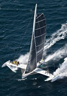 hybrid catamaran,,,who_ever wrote that comment has no buisness writing anything about boats catamarans have 2 and only 2 hulls of equal size.The boat in the photo is called HYDROPTERE and is the fastest sailing anything in the world and it is a TRIMARAN,,,get your s--t straight