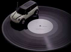 Vinyl Killer, Mini Clubman Model: A portable record player in vehicle form which coasts on the vinyl record, churning out music from its built in speaker. Licensed by BMW AG in Germany and made in Japan. Requires 9V battery.