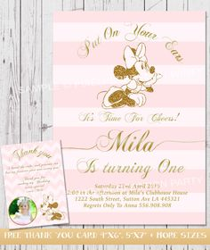 Minnie Mouse Invitation Minnie Mouse Birthday Invitation Stripe Luxury Minnie Pink and Gold Invitation Pink Gold Party FREE THANK YOUcard by PixelPerfectionParty on Etsy https://www.etsy.com/listing/219743772/minnie-mouse-invitation-minnie-mouse