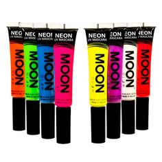 Moon Glow - Blacklight Neon Mascara 0.51oz Set of 8 colors - Glows brightly under Blacklights / UV Lighting!. Brightest Glow under Blacklight - Guaranteed!. Genuine Moon Glow branded product. Made in the United Kingdom. Bright, neon coloured in natural light, and produces an incredible glow under UV Lighting/Blacklights!. Perfect for festivals, clubbing, parties, fancy dress and anywhere with UV lighting / blacklights!. Non Toxic, Conforms to EU1223/2009.