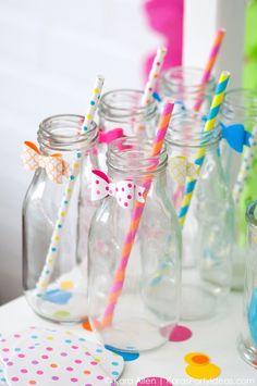 Cute way to dress up milk bottles! Celebrate Birthdays | Colorful Confetti Birthday Party | Kara Allen | KarasPartyIdeas.com #michaelsmakers