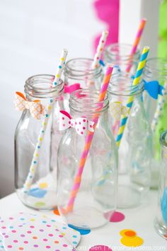 Cute way to dress up milk bottles! Celebrate Birthdays | Colorful Confetti Birthday Party | Kara Allen | KarasPartyIdeas.com #michaelsmakers