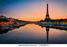 Sunrise at the Eiffel tower, Paris - stock photo