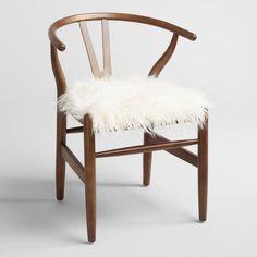 Ivory Flokati Donnan Wishbone Chair | World Market