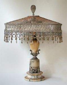 Oval Antique Lampshade on Shabby Chic Base