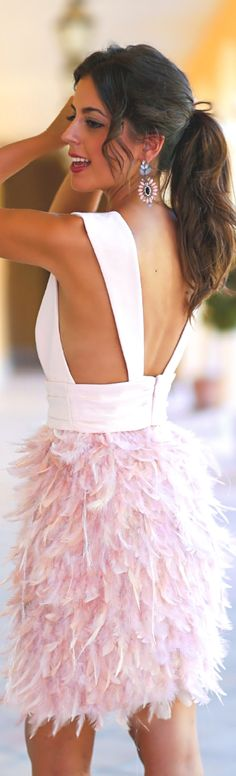 Silvia Navarro ~ Summer White Open Back Top w Light Pink Feather Skirt 2015