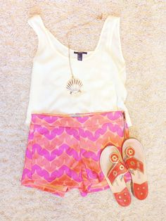 Outfit idea Tank- forever 21 Shorts- Judith March Sandals- jack rogers Necklace- Lilly Pulitzer