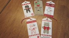 Tags made with Stampin' Up! Candy Cane Christmas Stamp set, Cookie Cutter Christmas