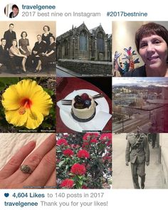 #2017bestnine is a good representation of my Instagram posts. Family History flowers food my view at RootsTech 2017 a previous Cornwall tripand the worse hair do in 2017.