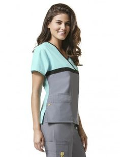WonderWink Origins Tri-Charlie Color Block Scrub Top