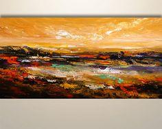 Resumen arte de la pared, paisaje abstracto, pintura abstracta, pintura acrílica, pintura paisaje marino, pintura original, arte de la lona, decoración del hogar