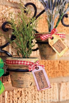 Clay pots make the perfect addition to any herb garden! To get this look, simply paint the outside as desired and finish off with a decorative tag and ribbon.