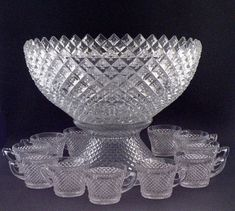 1940s Westmoreland English Hobnail Crystal Punch Bowl w Stand & Cups