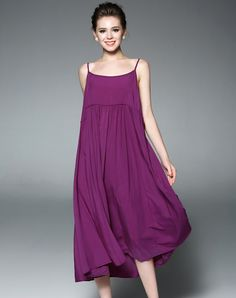 #VIPme Purple Basic Spaghetti Strap Loose Midi Dress ❤️ Get more outfit ideas and style inspiration from fashion designers at VIPme.com.