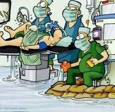 HAHAHA! Arthroscopy water always creeps towards the anesthetist!