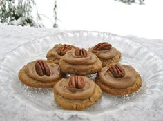 My Own Sweet Thyme: Pecan Praline Cookies with Brown Sugar Frosting - looks like a good Christmas cookie.
