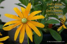 God's delays are NOT God's denials ~Robert H Schuller~