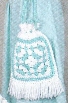 Vintage Crochet Pattern Granny Square Tote Bag by LittleGalsStudio, $2.00