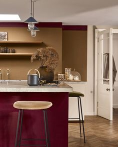 Create a rich and opulent kitchen with Spiced Honey and velvet like burgundy. Home Decor Colors, Interior House Colors, Colorful Decor, Colorful Interiors, Kitchen Colour Schemes, House Color Schemes, Kitchen Colors, Kitchen Ideas Dulux, Inside Home