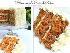 This is the BEST Carrot Cake recipe! A wonderful, flavorful classic carrot layer cake recipe filled with carrots, spices, coconut, nuts, and pineapple. This recipe has it all! Best Carrot Cake Recipe From Scratch, Homemade Carrot Cake, Carrot Cakes, Carrot Muffins, Layer Cake Recipes, 3 Layer Carrot Cake Recipe, Dessert Recipes, Layer Cakes, Dessert Ideas