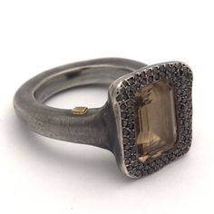 Rosa Maria Ring with Black Diamonds and Smoky Topaz