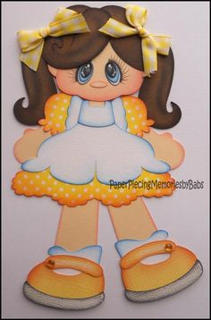Premade Paper Pieced Girl with Yellow Dress for Scrapbook Pages -by Babs