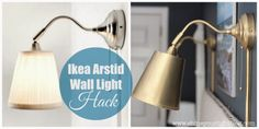 I bought these wall lamps for the girls room.I haven't hung them up yet, I should totally do this! Shine Your Light: Ikea Wall Light Hack Ikea Wall Lights, Ikea Wall Lamp, Ikea Lighting, Bedside Wall Lights, Wall Lamps, Wall Lighting, Sconce Lighting, Wall Clocks, Homes