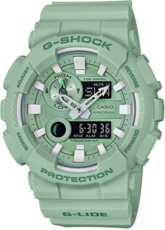 G-Shock Men's Analog-Digital Light Green Resin Strap Watch Casio G Shock Watches, Sport Watches, Casio Watch, Cool Watches, Watches For Men, Men's Watches, Casio Vintage, Digital Light, Man Japan