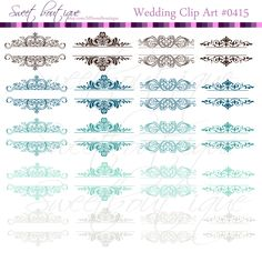Wedding Calligraphy Clip Art Clipart Designs Scrapbook Embellishment Text Dividers Digital Frame brown turquoise mint 0415         March 24, 2015 at 07:59PM
